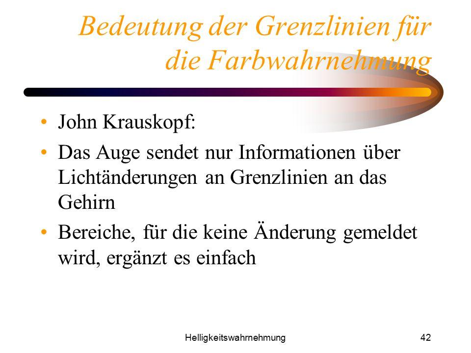 Helligkeitswahrnehmung42 Bedeutung der Grenzlinien für die Farbwahrnehmung John Krauskopf: Das Auge sendet nur Informationen über Lichtänderungen an G