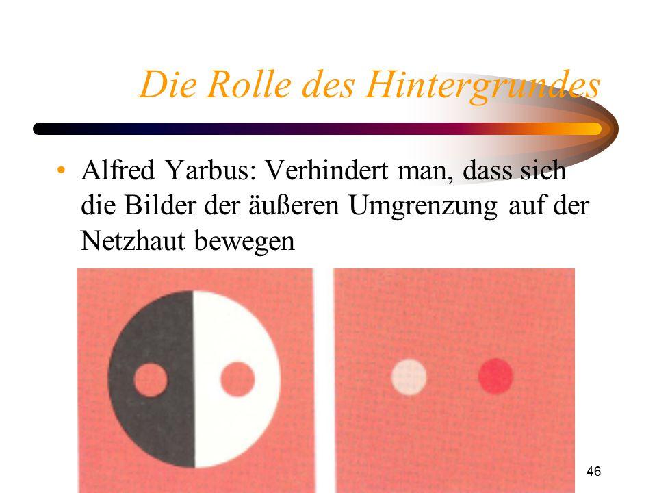 Helligkeitswahrnehmung46 Die Rolle des Hintergrundes Alfred Yarbus: Verhindert man, dass sich die Bilder der äußeren Umgrenzung auf der Netzhaut beweg