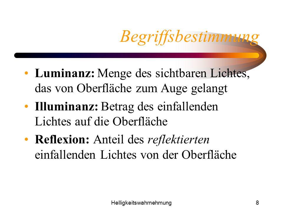 Helligkeitswahrnehmung8 Begriffsbestimmung Luminanz: Menge des sichtbaren Lichtes, das von Oberfläche zum Auge gelangt Illuminanz: Betrag des einfalle