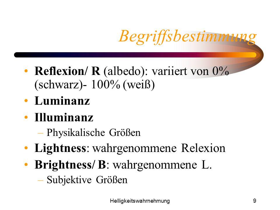 Helligkeitswahrnehmung9 Begriffsbestimmung Reflexion/ R (albedo): variiert von 0% (schwarz)- 100% (weiß) Luminanz Illuminanz –Physikalische Größen Lig