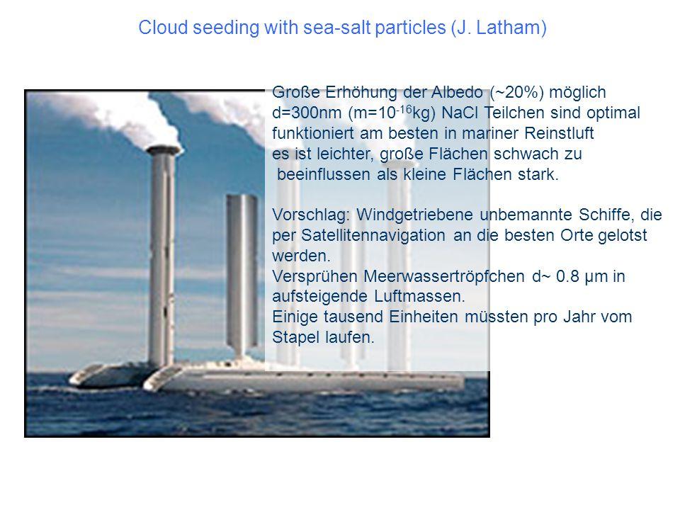 Cloud seeding with sea-salt particles (J. Latham) Große Erhöhung der Albedo (~20%) möglich d=300nm (m=10 -16 kg) NaCl Teilchen sind optimal funktionie