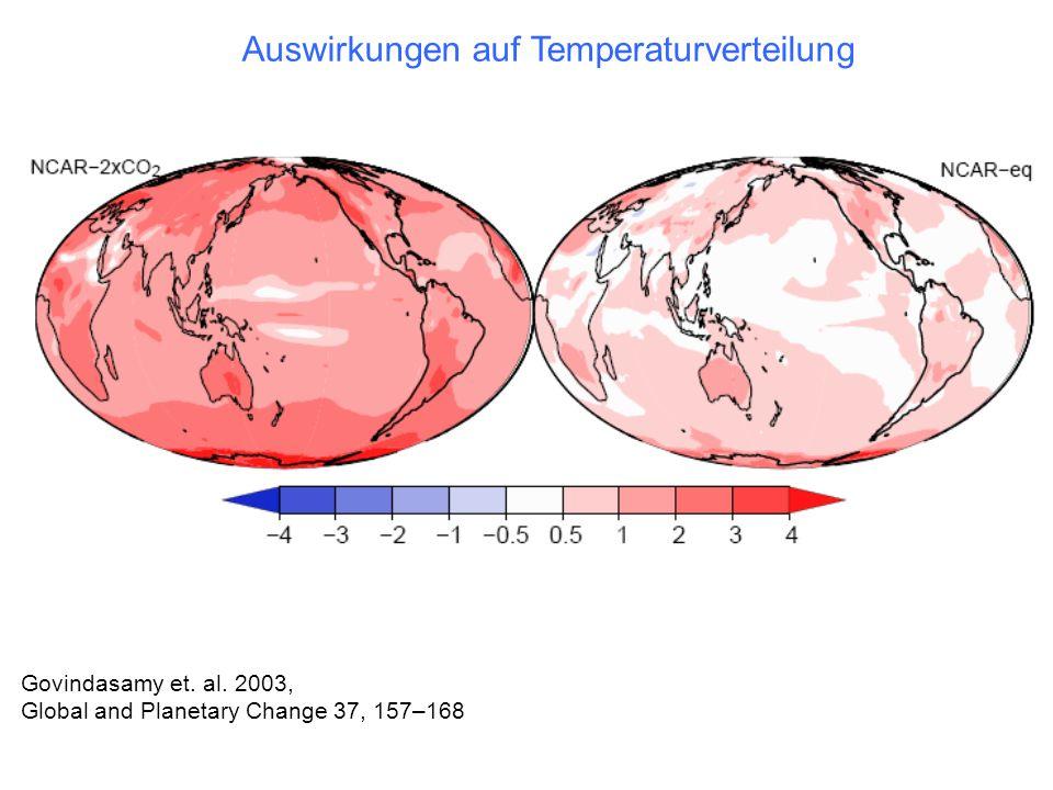 Govindasamy et. al. 2003, Global and Planetary Change 37, 157–168 Auswirkungen auf Temperaturverteilung