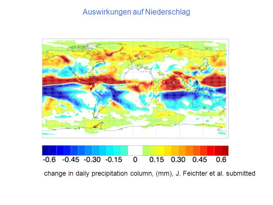 Auswirkungen auf Niederschlag change in daily precipitation column, (mm), J. Feichter et al. submitted