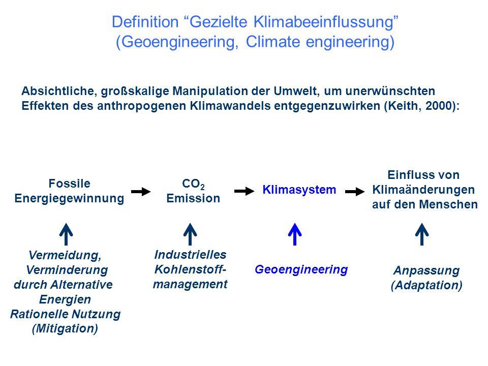 """Definition """"Gezielte Klimabeeinflussung"""" (Geoengineering, Climate engineering) Absichtliche, großskalige Manipulation der Umwelt, um unerwünschten Eff"""