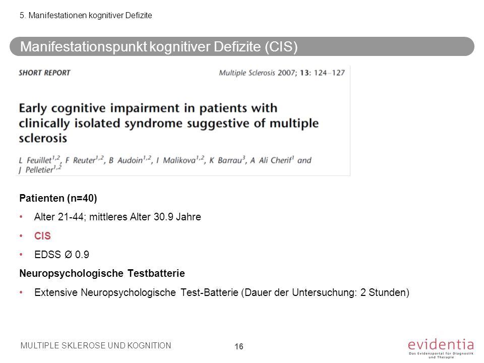 Patienten (n=40) Alter 21-44; mittleres Alter 30.9 Jahre CIS EDSS Ø 0.9 Neuropsychologische Testbatterie Extensive Neuropsychologische Test-Batterie (