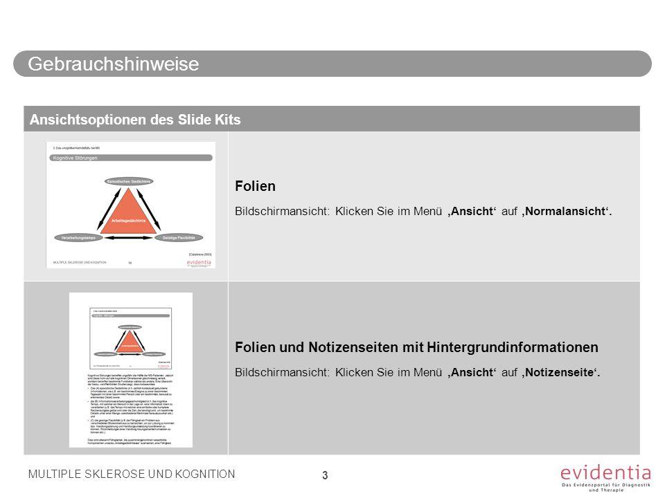 Gebrauchshinweise MULTIPLE SKLEROSE UND KOGNITION 3 Ansichtsoptionen des Slide Kits Folien Bildschirmansicht: Klicken Sie im Menü 'Ansicht' auf 'Norma