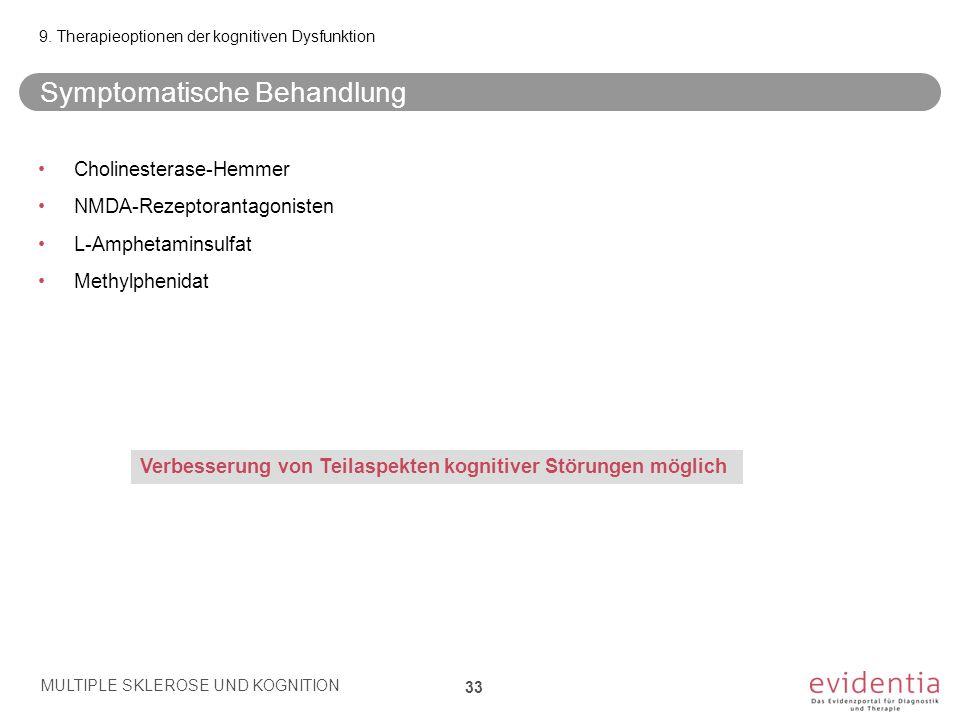 Symptomatische Behandlung 9. Therapieoptionen der kognitiven Dysfunktion Cholinesterase-Hemmer NMDA-Rezeptorantagonisten L-Amphetaminsulfat Methylphen