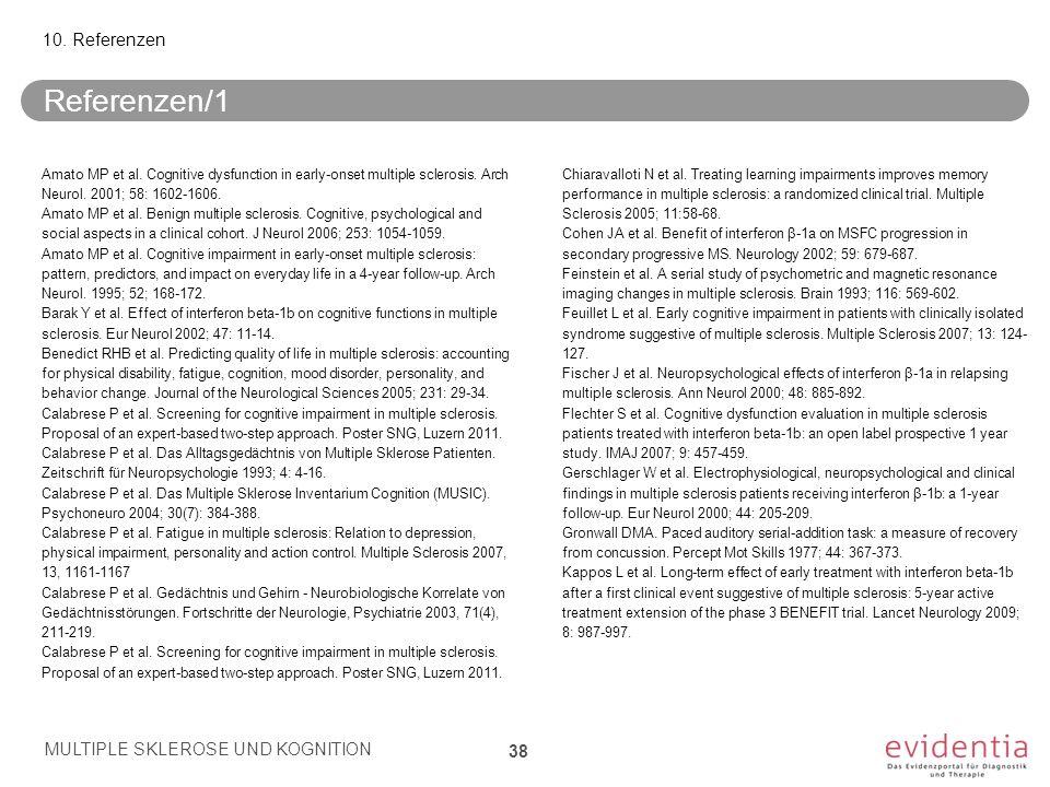 Referenzen/1 Amato MP et al. Cognitive dysfunction in early-onset multiple sclerosis. Arch Neurol. 2001; 58: 1602-1606. Amato MP et al. Benign multipl