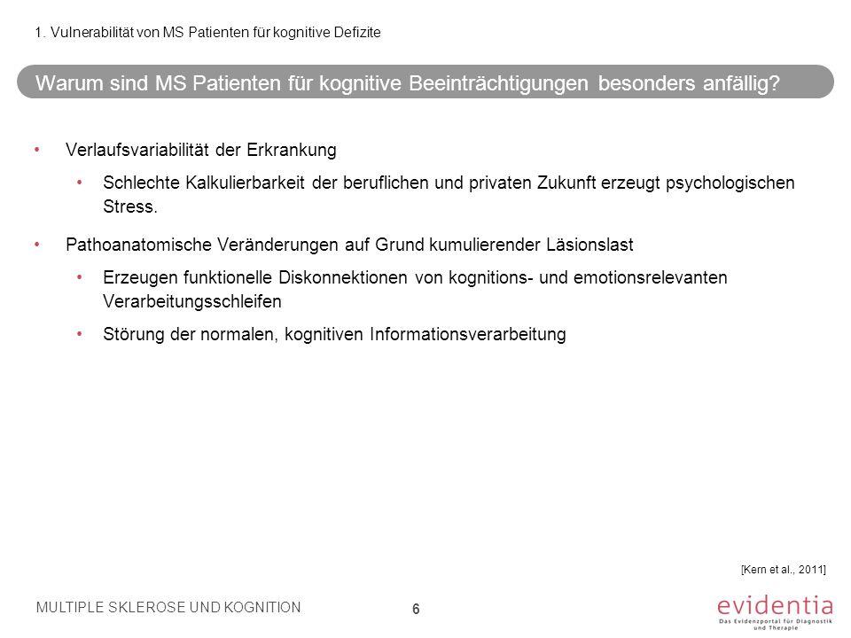 Inhalt 1.Vulnerabilität von MS Patienten für kognitive DefiziteSeite 06 2.Multidisziplinarität in der Abklärung kognitiver Defizite 08 3.Das «kognitive Kerndefizit» bei MS10 4.Alltagsrelevanz der kognitiven Defizite12 5.Manifestationen kognitiver Defizite 16 6.Klinische Indikatoren kognitiver Defizite 21 7.Funktionell-neuroanatomische Korrelate24 8.Testpsychologische Erfassungsmöglichkeiten28 9.Therapieoptionen der kognitiven Dysfunktion33 10.Referenzen38 MULTIPLE SKLEROSE UND KOGNITION 27 MULTIPLE SKLEROSE UND KOGNITION