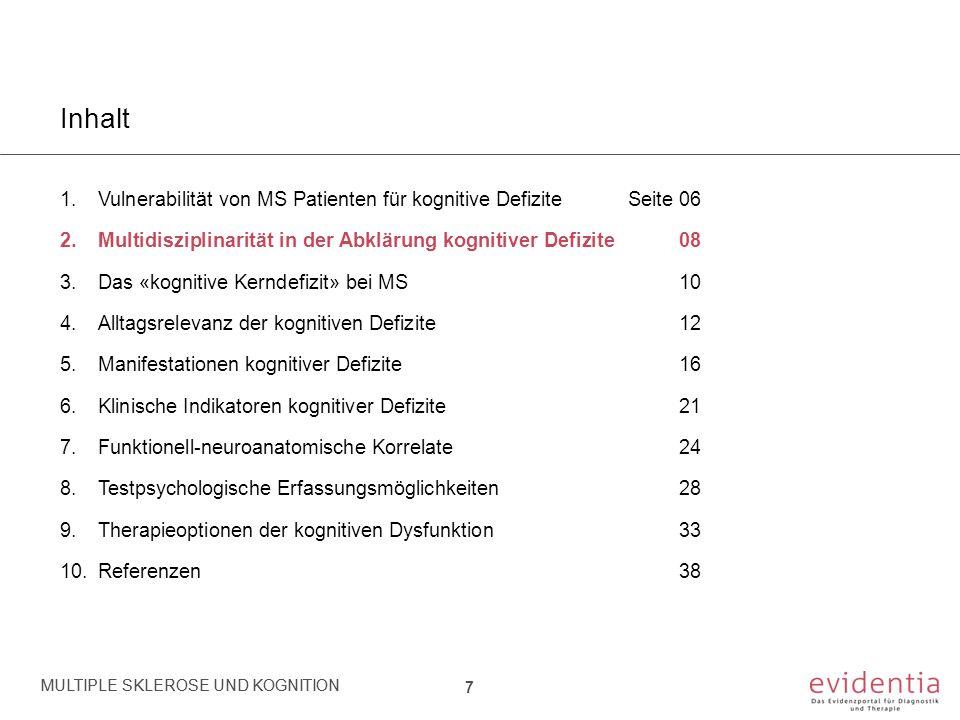 Inhalt 1.Vulnerabilität von MS Patienten für kognitive DefiziteSeite 06 2.Multidisziplinarität in der Abklärung kognitiver Defizite 08 3.Das «kognitiv