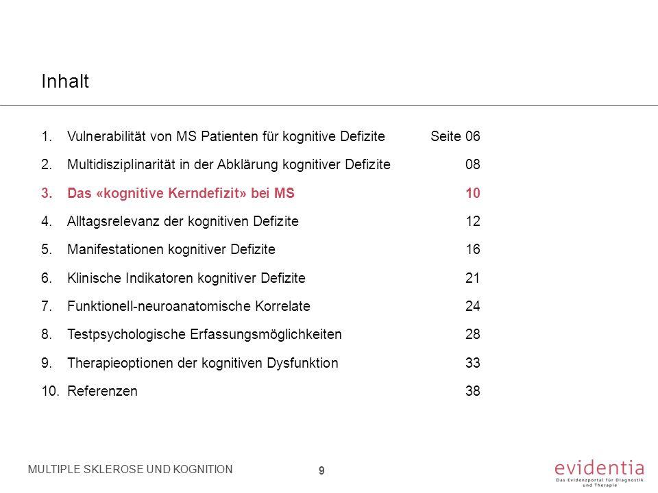 Inhalt 1.Vulnerabilität von MS Patienten für kognitive DefiziteSeite 06 2.Multidisziplinarität in der Abklärung kognitiver Defizite 08 3.Das «kognitive Kerndefizit» bei MS10 4.Alltagsrelevanz der kognitiven Defizite12 5.Manifestationen kognitiver Defizite 16 6.Klinische Indikatoren kognitiver Defizite 21 7.Funktionell-neuroanatomische Korrelate24 8.Testpsychologische Erfassungsmöglichkeiten28 9.Therapieoptionen der kognitiven Dysfunktion33 10.Referenzen38 MULTIPLE SKLEROSE UND KOGNITION 20 MULTIPLE SKLEROSE UND KOGNITION