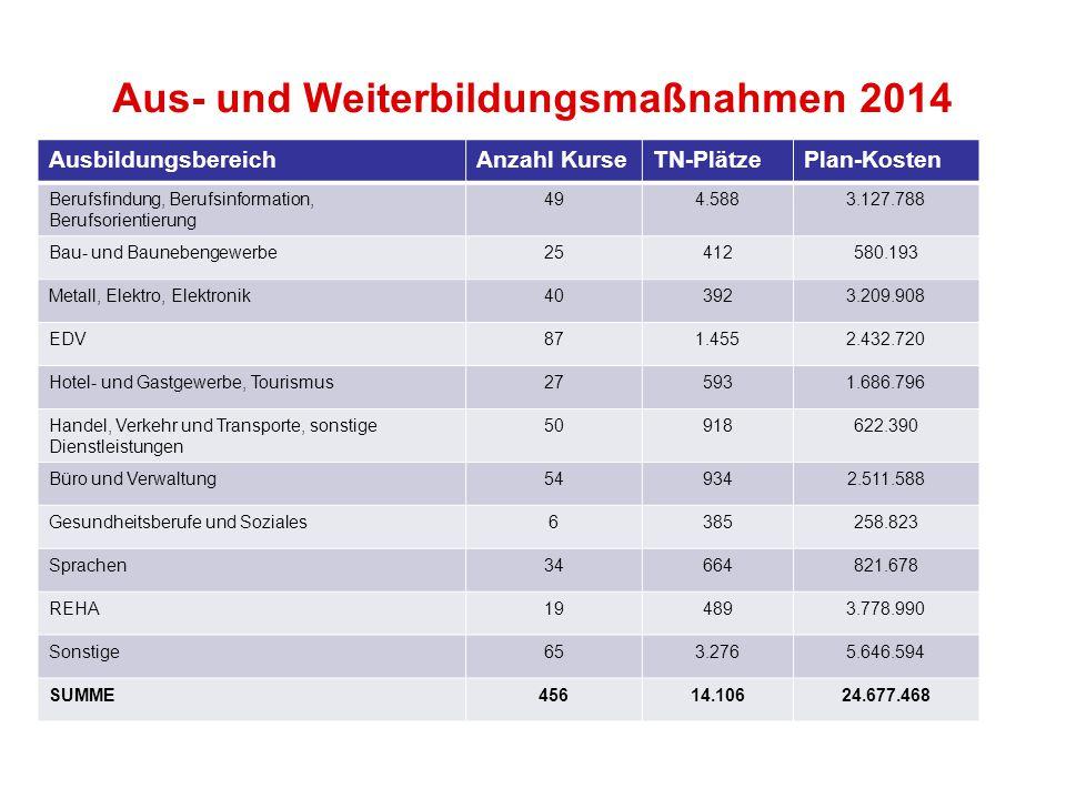 Aus- und Weiterbildungsmaßnahmen 2014 AusbildungsbereichAnzahl KurseTN-PlätzePlan-Kosten Berufsfindung, Berufsinformation, Berufsorientierung 494.5883