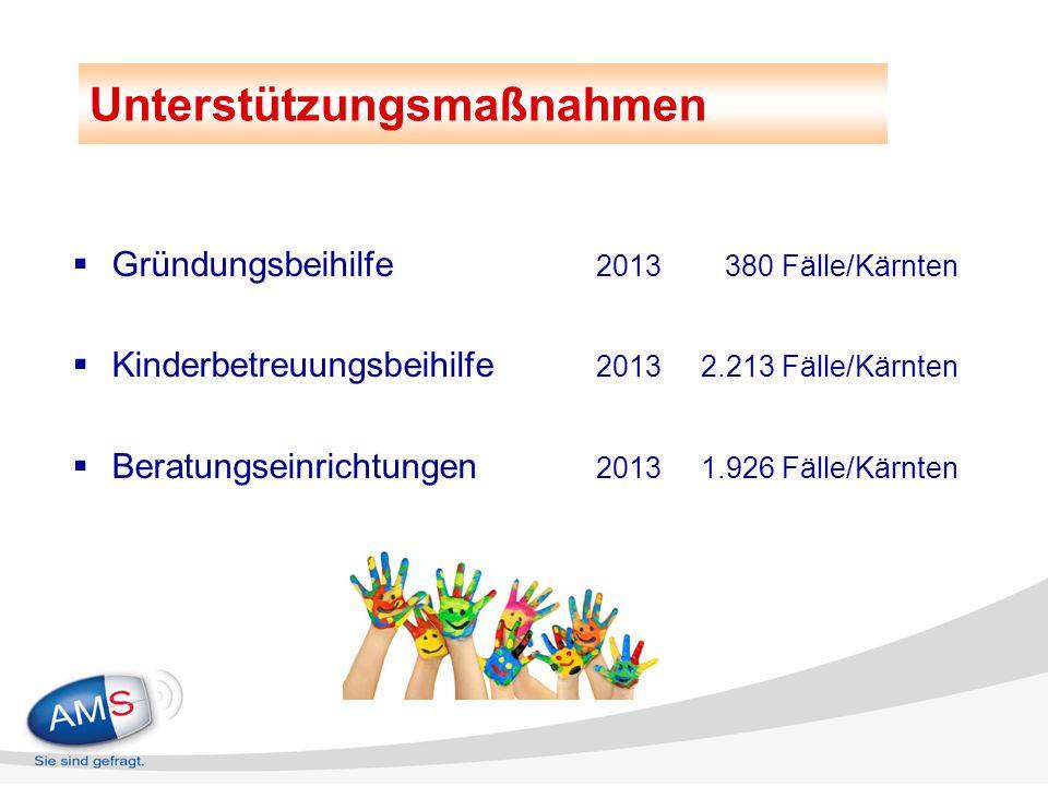  Gründungsbeihilfe 2013 380 Fälle/Kärnten  Kinderbetreuungsbeihilfe 20132.213 Fälle/Kärnten  Beratungseinrichtungen 20131.926 Fälle/Kärnten Unterst