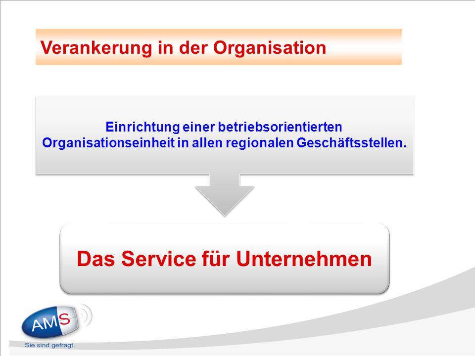 Das Service für Unternehmen Verankerung in der Organisation Einrichtung einer betriebsorientierten Organisationseinheit in allen regionalen Geschäftss
