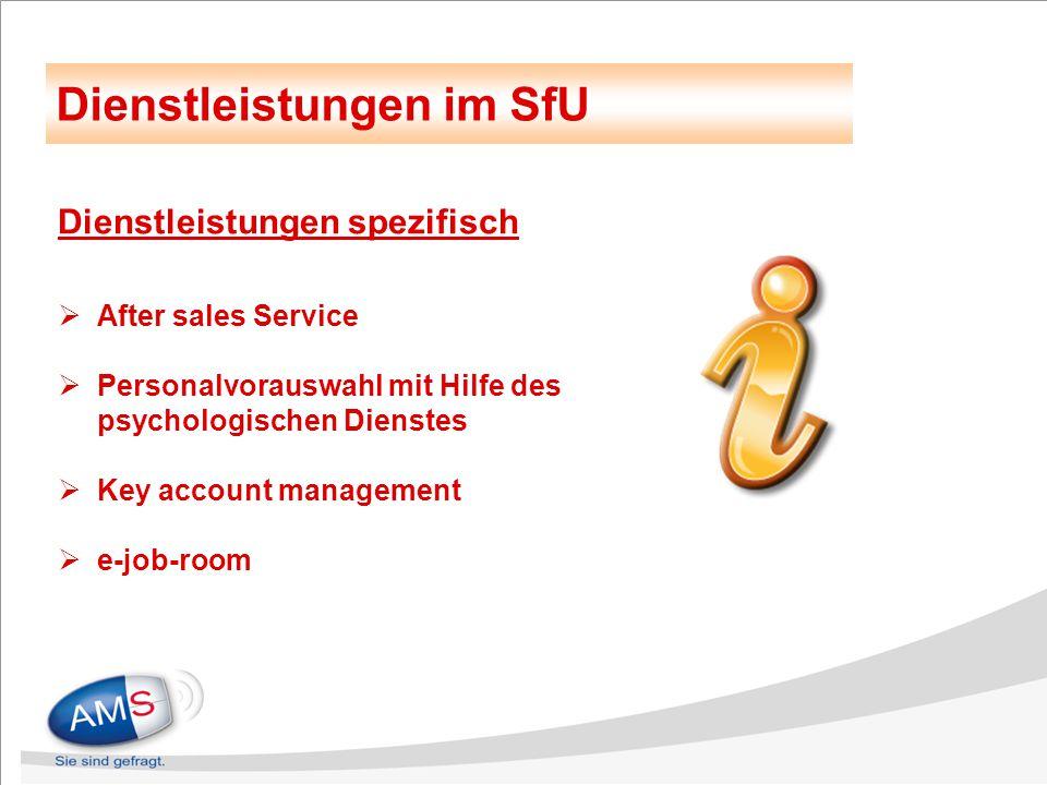 Dienstleistungen spezifisch  After sales Service  Personalvorauswahl mit Hilfe des psychologischen Dienstes  Key account management  e-job-room Di