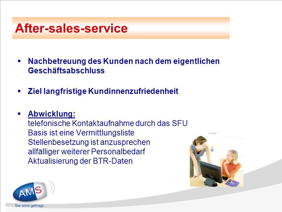  Nachbetreuung des Kunden nach dem eigentlichen Geschäftsabschluss  Ziel langfristige Kundinnenzufriedenheit  Abwicklung: telefonische Kontaktaufna
