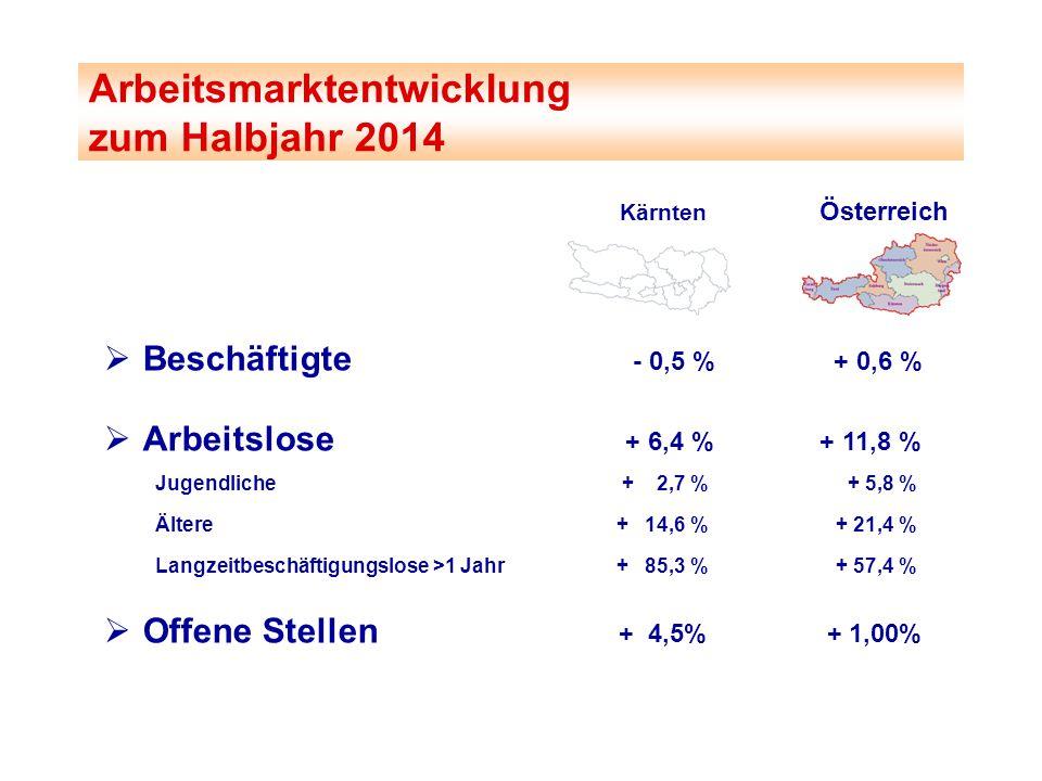 Kärnten Österreich  Beschäftigte - 0,5 % + 0,6 %  Arbeitslose + 6,4 %+ 11,8 % Jugendliche + 2,7 % + 5,8 % Ältere + 14,6 % + 21,4 % Langzeitbeschäfti