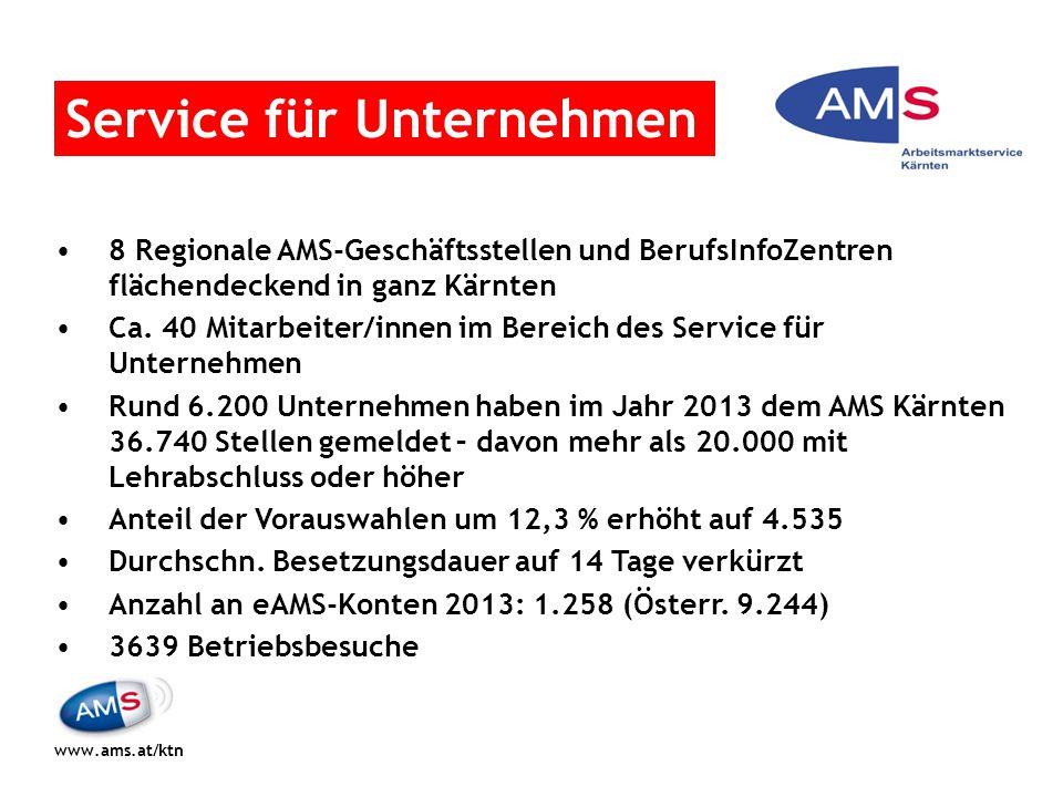 8 Regionale AMS-Geschäftsstellen und BerufsInfoZentren flächendeckend in ganz Kärnten Ca. 40 Mitarbeiter/innen im Bereich des Service für Unternehmen