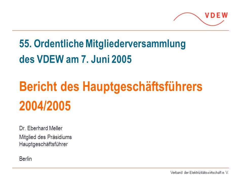 Verband der Elektrizitätswirtschaft e. V. 55. Ordentliche Mitgliederversammlung des VDEW am 7. Juni 2005 Bericht des Hauptgeschäftsführers 2004/2005 D