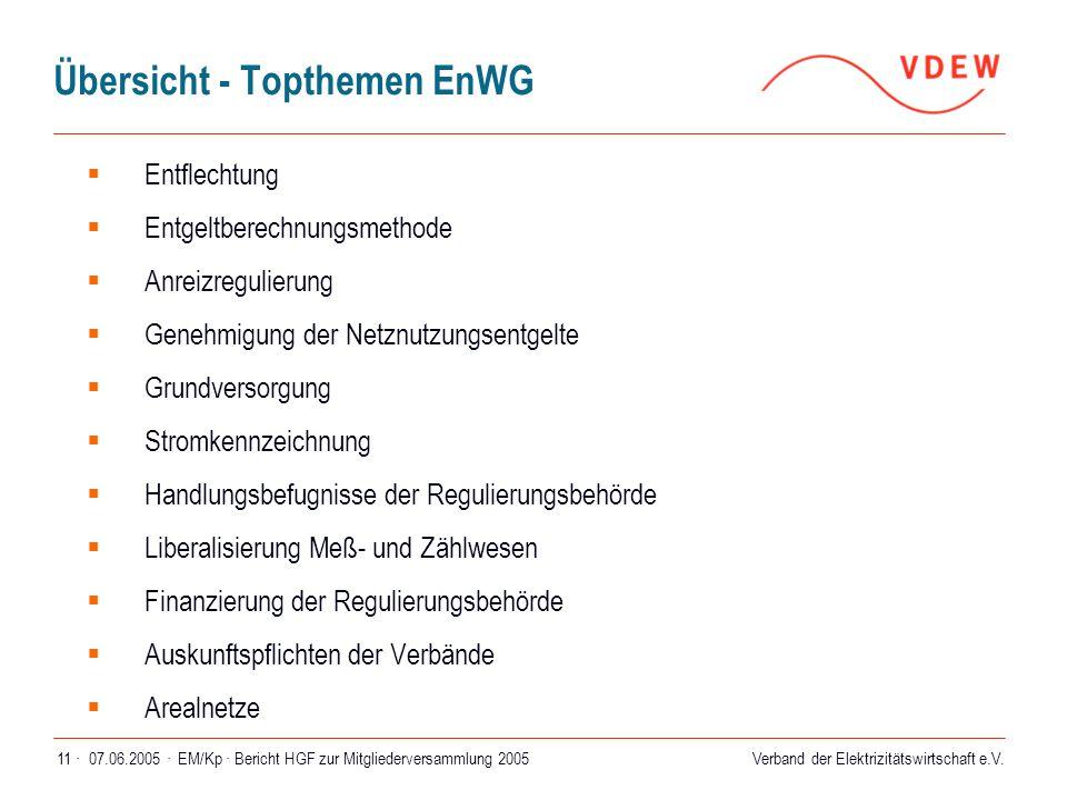 Verband der Elektrizitätswirtschaft e.V. 07.06.2005 ·EM/Kp · Bericht HGF zur Mitgliederversammlung 200511 · Übersicht - Topthemen EnWG  Entflechtung