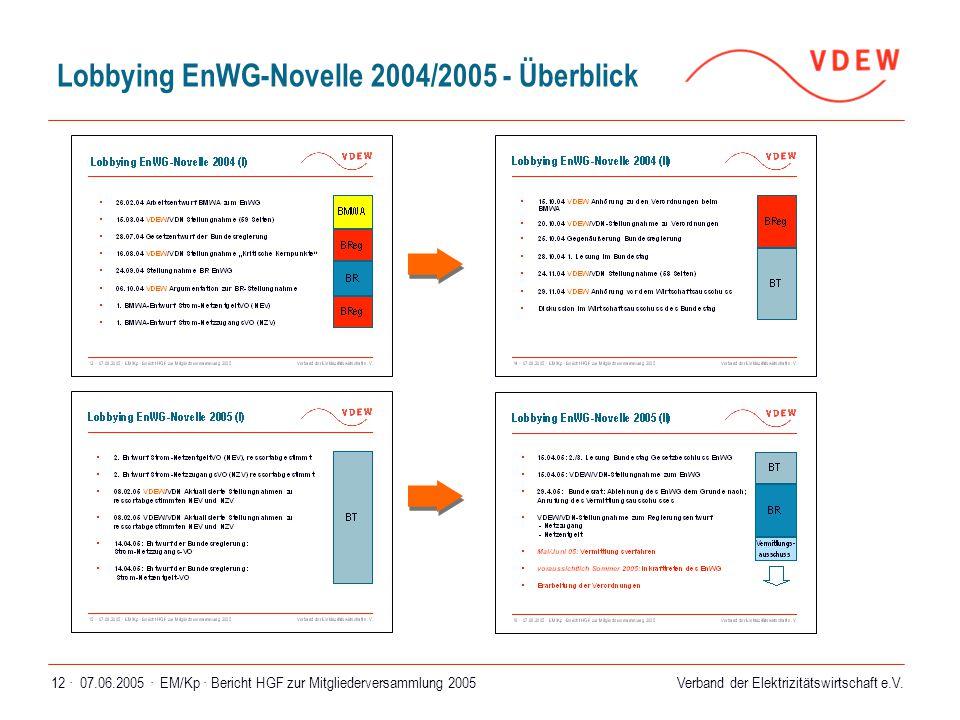 Verband der Elektrizitätswirtschaft e.V. 07.06.2005 ·EM/Kp · Bericht HGF zur Mitgliederversammlung 200512 · Lobbying EnWG-Novelle 2004/2005 - Überblic