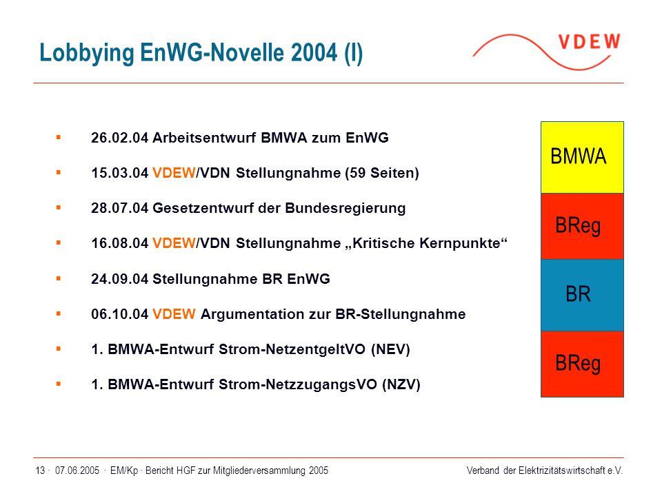 Verband der Elektrizitätswirtschaft e.V. 07.06.2005 ·EM/Kp · Bericht HGF zur Mitgliederversammlung 200513 · Lobbying EnWG-Novelle 2004 (I)  26.02.04