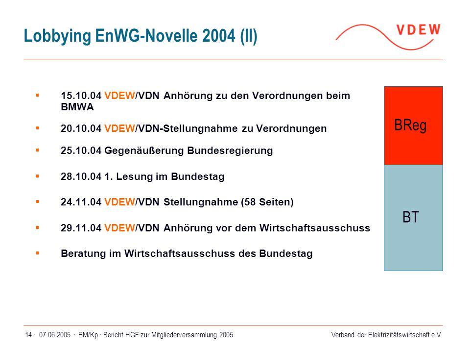 Verband der Elektrizitätswirtschaft e.V. 07.06.2005 ·EM/Kp · Bericht HGF zur Mitgliederversammlung 200514 · Lobbying EnWG-Novelle 2004 (II)  15.10.04