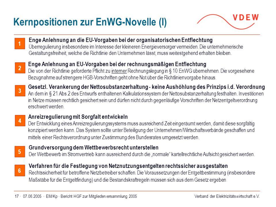 Verband der Elektrizitätswirtschaft e.V. 07.06.2005 ·EM/Kp · Bericht HGF zur Mitgliederversammlung 200517 · 1 Enge Anlehnung an EU-Vorgaben bei der re