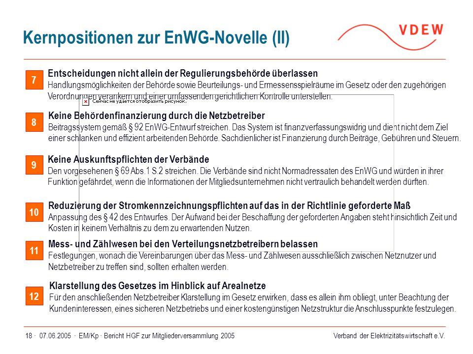 Verband der Elektrizitätswirtschaft e.V. 07.06.2005 ·EM/Kp · Bericht HGF zur Mitgliederversammlung 200518 · 8 Keine Behördenfinanzierung durch die Net