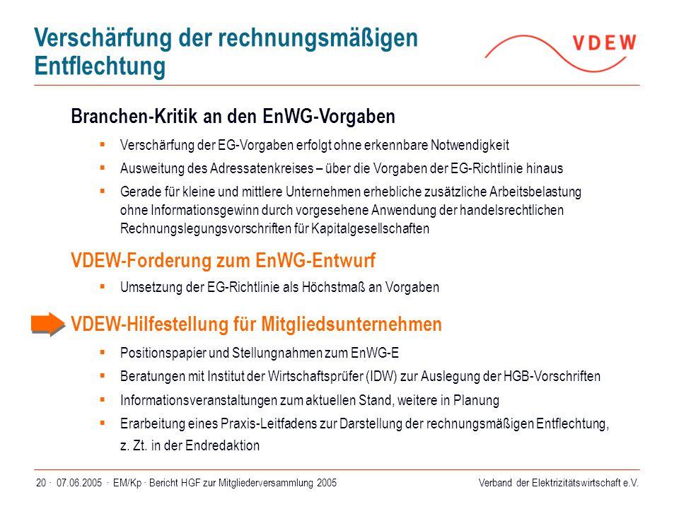 Verband der Elektrizitätswirtschaft e.V. 07.06.2005 ·EM/Kp · Bericht HGF zur Mitgliederversammlung 200520 · Branchen-Kritik an den EnWG-Vorgaben  Ver