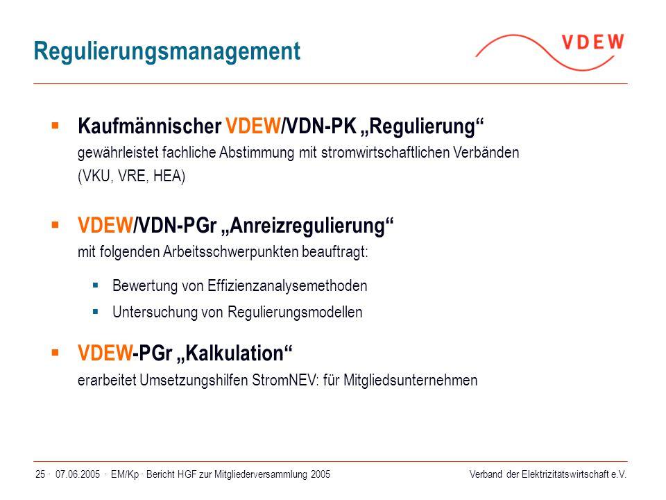 """Verband der Elektrizitätswirtschaft e.V. 07.06.2005 ·EM/Kp · Bericht HGF zur Mitgliederversammlung 200525 ·  Kaufmännischer VDEW/VDN-PK """"Regulierung"""""""