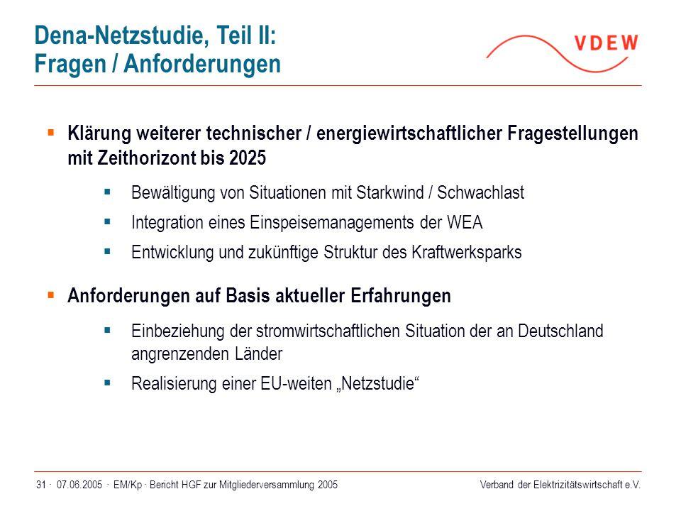 Verband der Elektrizitätswirtschaft e.V. 07.06.2005 ·EM/Kp · Bericht HGF zur Mitgliederversammlung 200531 · Dena-Netzstudie, Teil II: Fragen / Anforde