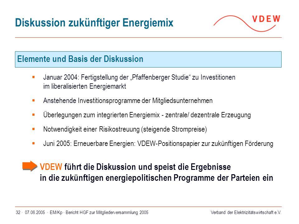 Verband der Elektrizitätswirtschaft e.V. 07.06.2005 ·EM/Kp · Bericht HGF zur Mitgliederversammlung 200532 · Diskussion zukünftiger Energiemix  Januar