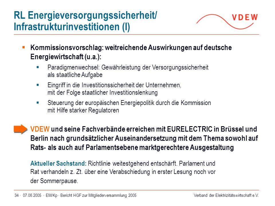 Verband der Elektrizitätswirtschaft e.V. 07.06.2005 ·EM/Kp · Bericht HGF zur Mitgliederversammlung 200534 ·  Kommissionsvorschlag: weitreichende Ausw