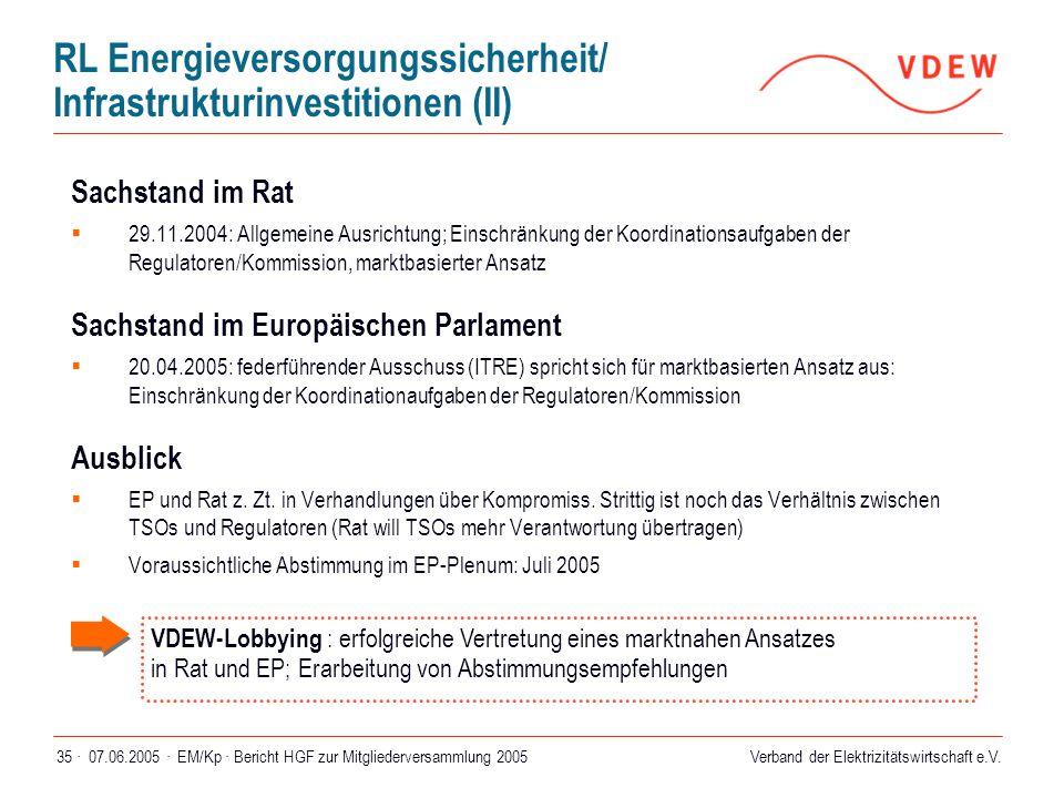 Verband der Elektrizitätswirtschaft e.V. 07.06.2005 ·EM/Kp · Bericht HGF zur Mitgliederversammlung 200535 · Sachstand im Rat  29.11.2004: Allgemeine
