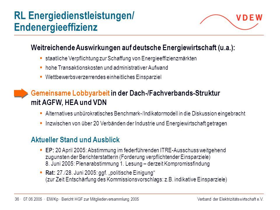 Verband der Elektrizitätswirtschaft e.V. 07.06.2005 ·EM/Kp · Bericht HGF zur Mitgliederversammlung 200536 · Weitreichende Auswirkungen auf deutsche En