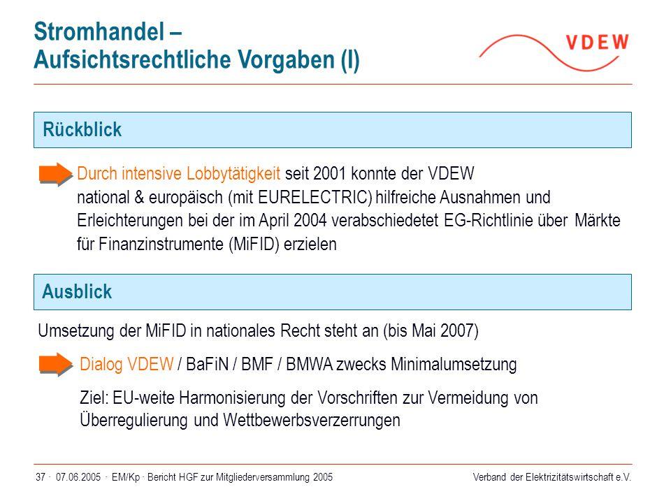 Verband der Elektrizitätswirtschaft e.V. 07.06.2005 ·EM/Kp · Bericht HGF zur Mitgliederversammlung 200537 ·  Durch intensive Lobbytätigkeit seit 2001