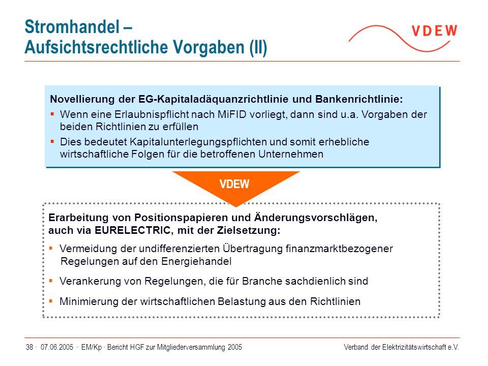 Verband der Elektrizitätswirtschaft e.V. 07.06.2005 ·EM/Kp · Bericht HGF zur Mitgliederversammlung 200538 · Novellierung der EG-Kapitaladäquanzrichtli