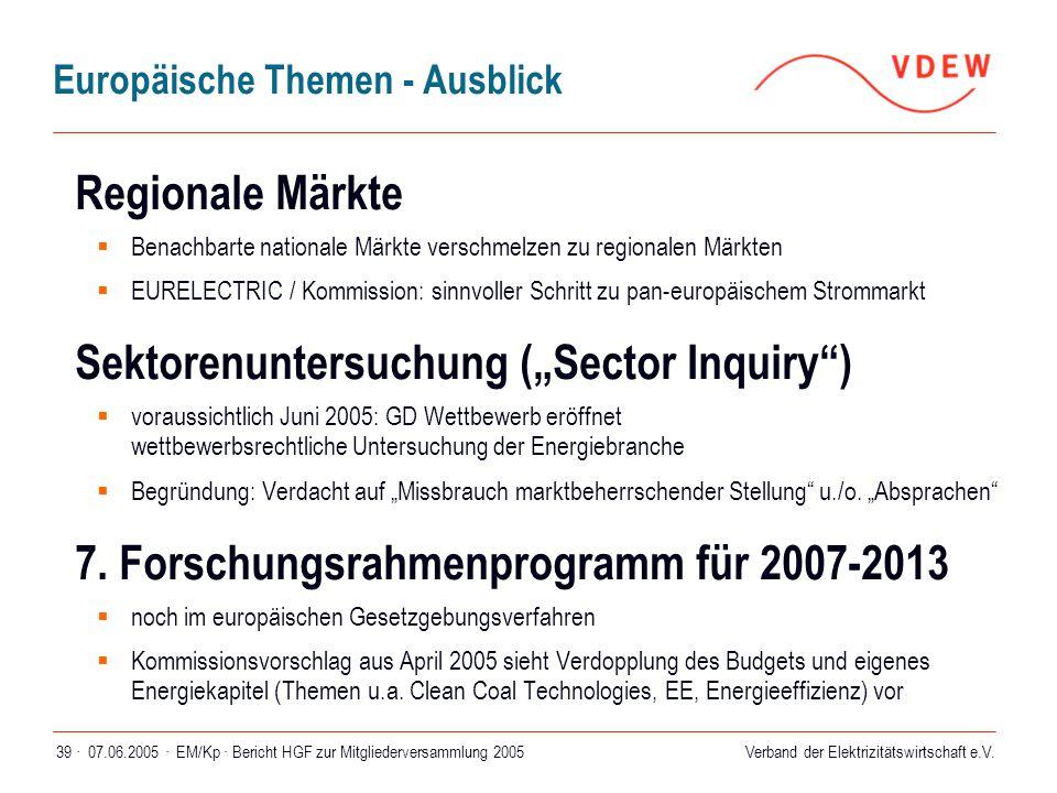 Verband der Elektrizitätswirtschaft e.V. 07.06.2005 ·EM/Kp · Bericht HGF zur Mitgliederversammlung 200539 · Europäische Themen - Ausblick Regionale Mä