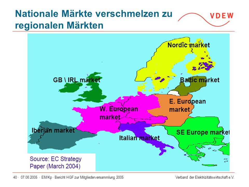Verband der Elektrizitätswirtschaft e.V. 07.06.2005 ·EM/Kp · Bericht HGF zur Mitgliederversammlung 200540 · Nationale Märkte verschmelzen zu regionale