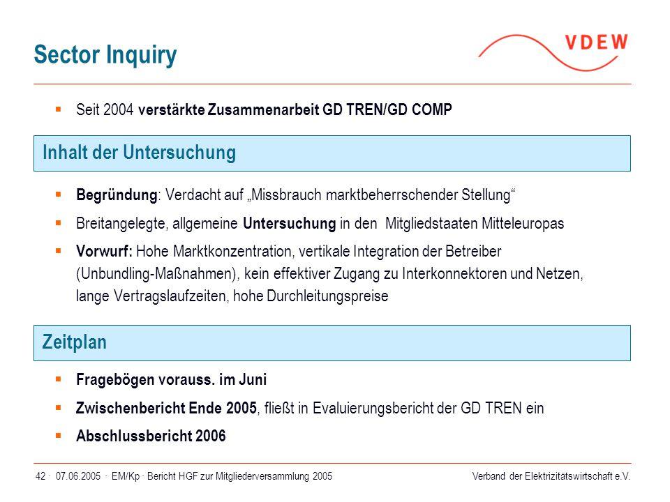 """Verband der Elektrizitätswirtschaft e.V. 07.06.2005 ·EM/Kp · Bericht HGF zur Mitgliederversammlung 200542 ·  Begründung : Verdacht auf """"Missbrauch ma"""