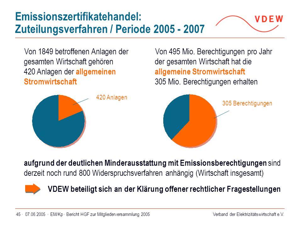 Verband der Elektrizitätswirtschaft e.V. 07.06.2005 ·EM/Kp · Bericht HGF zur Mitgliederversammlung 200545 · Emissionszertifikatehandel: Zuteilungsverf