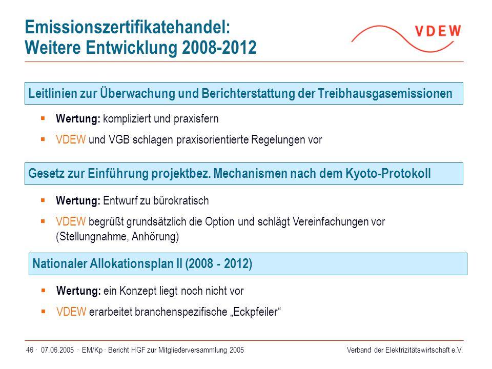 Verband der Elektrizitätswirtschaft e.V. 07.06.2005 ·EM/Kp · Bericht HGF zur Mitgliederversammlung 200546 · Emissionszertifikatehandel: Weitere Entwic