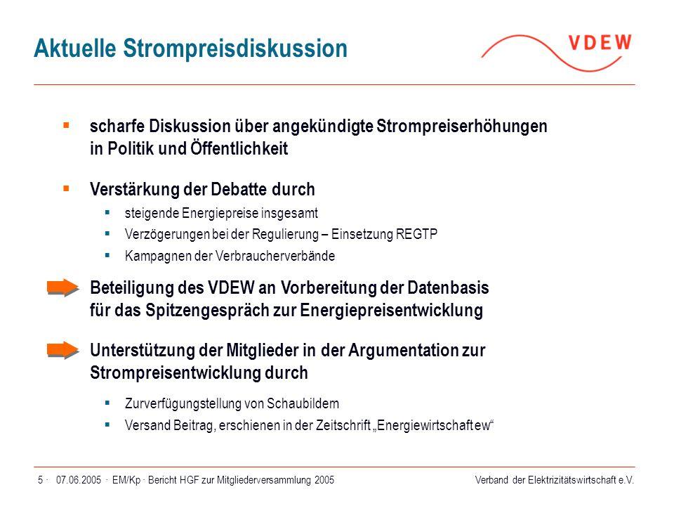 07.06.2005 ·EM/Kp · Bericht HGF zur Mitgliederversammlung 200566 ·  4 VDEW-Regionalgespräche im Herbst 2004 in Düsseldorf, Nürnberg, Mannheim und Hamburg  Zielgruppe: kleine und mittlere Mitgliedsunternehmen  Agenda  Beratung aktueller Themen  Vorstellung und Diskussion des aktuellen Standes zur Regulierung und Unbundling  Gelegenheit zur Aussprache mit dem Hauptgeschäftsführer Gesprächsangebot wurde positiv angenommen und soll im Herbst 2005 fortgesetzt werden VDEW-Regionalgespräche 2004
