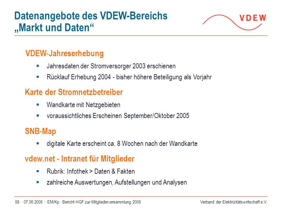 Verband der Elektrizitätswirtschaft e.V. 07.06.2005 ·EM/Kp · Bericht HGF zur Mitgliederversammlung 200558 · VDEW-Jahreserhebung  Jahresdaten der Stro