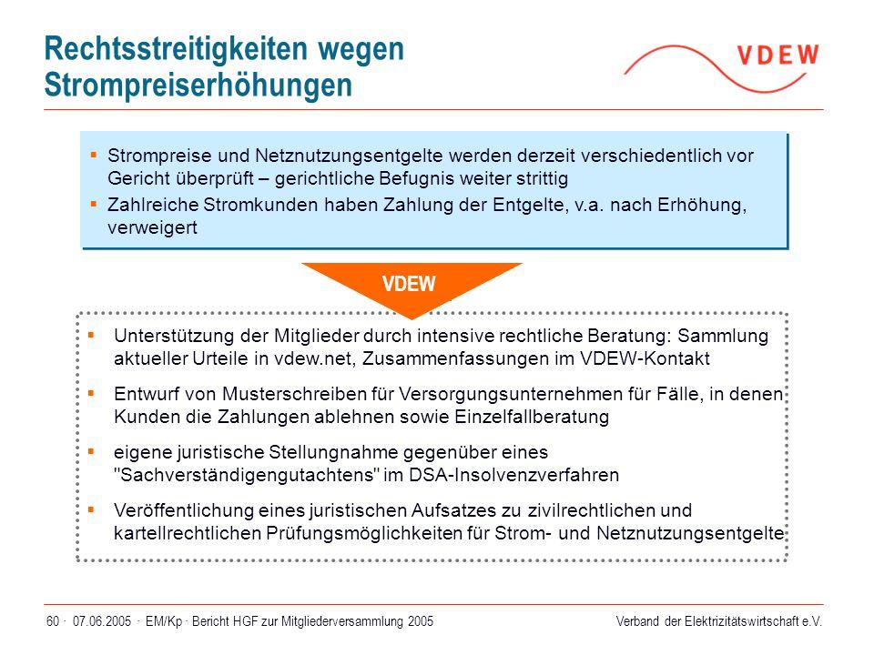 Verband der Elektrizitätswirtschaft e.V. 07.06.2005 ·EM/Kp · Bericht HGF zur Mitgliederversammlung 200560 · Rechtsstreitigkeiten wegen Strompreiserhöh