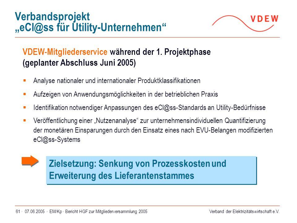 """Verband der Elektrizitätswirtschaft e.V. 07.06.2005 ·EM/Kp · Bericht HGF zur Mitgliederversammlung 200561 · Verbandsprojekt """"eCl@ss für Utility-Untern"""