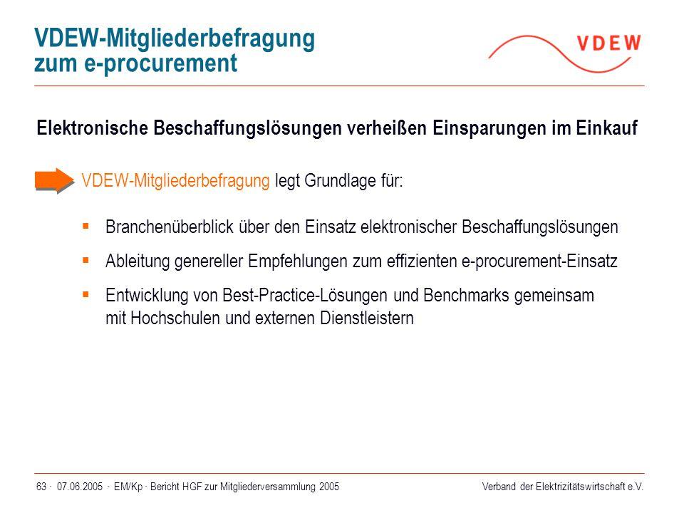 Verband der Elektrizitätswirtschaft e.V. 07.06.2005 ·EM/Kp · Bericht HGF zur Mitgliederversammlung 200563 · VDEW-Mitgliederbefragung zum e-procurement