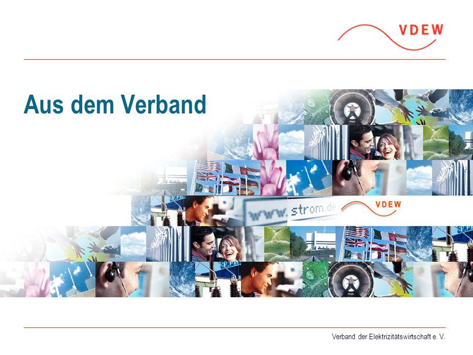 Verband der Elektrizitätswirtschaft e. V. Aus dem Verband Verband der Elektrizitätswirtschaft e. V.