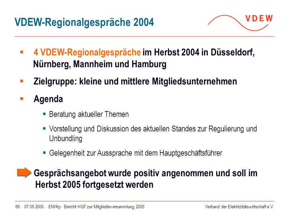 07.06.2005 ·EM/Kp · Bericht HGF zur Mitgliederversammlung 200566 ·  4 VDEW-Regionalgespräche im Herbst 2004 in Düsseldorf, Nürnberg, Mannheim und Ham